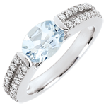 Victory Engagement Ring - 1.2 carat aquamarine and diamonds - white gold 18 carats