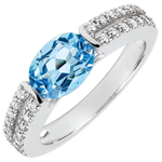 weddings Victory Engagement Ring - 1.5 carat topaz and diamonds - white gold 18 carats