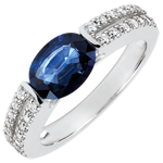 wedding Victory Engagement Ring - 1.7 carat sapphire and diamonds - white gold 18 carats
