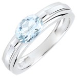 gifts women Victory Engagement Ring variation - 0.65 carat aquamarine - white gold 18 carats