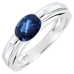 gold jewelry Victory Engagement Ring variation - 1 carat sapphire - white gold 18 carats