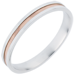 women Wedding Ring - Duo all gold - rose gold and white gold