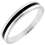 Wedding Ring gold Men - Clair Obscure - One line - white gold and black lacquer - 9 carat