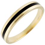 present Wedding Ring gold Men - Clair Obscure - One line - yellow gold and black lacquer - 18 carat