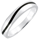 sell on line Wedding Ring Men Clair Obscure - Curve - white gold and black lacquer - 18 carat