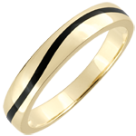 jewelry Wedding Ring Men Clair Obscure - Curve - yellow gold and black lacquer - 9 carat