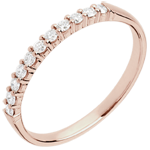 Wedding Ring - Pink gold 11 diamonds