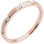 Wedding Ring - Pink gold - 4 diamonds
