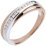 gifts women Wedding Ring - Pink gold and white gold channel setting - 14 diamonds