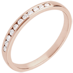 Wedding Ring - Pink gold half-paved - channel setting - 11 diamonds