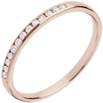 jewelry Wedding Ring - Pink gold half-paved - channel setting - 13 diamonds