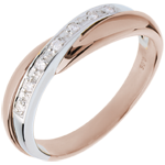gold jewelry Wedding Ring - Pink gold with White gold channel setting - 7 diamonds - 18 carats