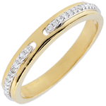 Wedding Ring Promise - two golds and diamonds - small model - 18carat