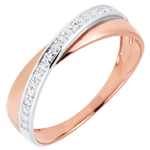 gifts woman Wedding Ring Saturn Duo - diamonds - rose gold and white gold - 18 carat