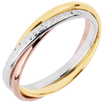 Wedding Ring Saturn Movement - medium model - 3 golds, 3 rings