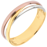 Wedding Ring Saturn Trilogy variation - three golds - 18 carat