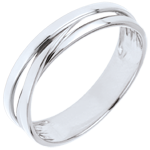 Wedding Ring Saturn Trilogy variation - white gold - 9 carat