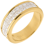 gifts women Wedding ring semi paved gold-double channel setting - 1.5 carat