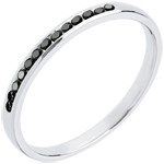 Wedding Ring - White gold half-paved black diamonds