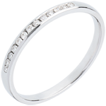 gifts women Wedding ring white gold paved-channel setting - 13 diamonds
