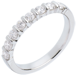 sell on line Wedding ring white gold semi paved-bar channel setting - 0.5 carat - 8 diamonds