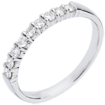 buy on line Wedding ring white gold semi paved-bar prong setting - 0.25 carat - 9 diamonds