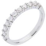 buy on line Wedding ring white gold semi paved-bar prong setting - 0.5 carat - 11 diamonds