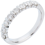 Wedding ring white gold semi paved-bar prong setting - 0.65 carat - 8 diamonds
