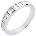 jewelry Wedding ring white gold semi-paved channel setting - 0.5 carat - 11 diamonds