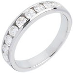 sell on line Wedding ring white gold semi-paved channel setting - 0.75 carat - 9 diamonds