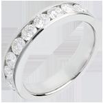 Wedding ring white gold semi-paved channel setting - 1 carat - 9 diamonds