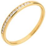 gift women Wedding Ring - Yellow gold half-paved - channel setting - 13 diamonds