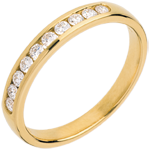 Wedding ring yellow gold paved-channel setting - 0.25 carat - 10 diamonds