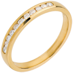 Wedding ring yellow gold paved-channel setting - 11 diamonds