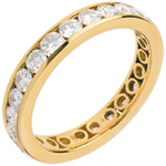 gift women Wedding ring yellow gold paved-channel setting - 2 carat - 23 diamonds