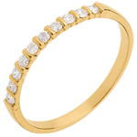 women Wedding ring yellow gold semi paved-bar channel setting - 10 diamonds