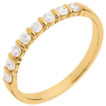 Wedding ring yellow gold semi paved-bar prong setting - 0.3 carat - 8 diamonds