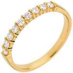 Wedding ring yellow gold semi paved-bar prong setting - 0.3 carat - 9 diamonds