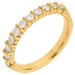 gift woman Wedding ring yellow gold semi paved-bar prong setting - 0.5 carat - 11 diamonds