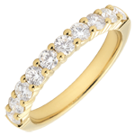 weddings Wedding ring yellow gold semi paved-bar prong setting - 0.65 carat - 10 diamonds