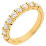 Wedding ring yellow gold semi paved-bar prong setting - 0.75 carat - 9 diamonds