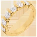 Wedding ring yellow gold semi paved-bar prong setting - 1.2 carat - 6 diamonds