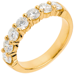 Wedding ring yellow gold semi paved-bar prong setting - 1.2 carat - 7 diamonds