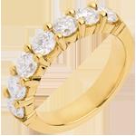 Wedding ring yellow gold semi paved-bar prong setting - 1.57 carat - 7 diamonds