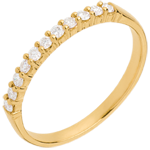 on line sell Wedding ring yellow gold semi paved-bar prong setting - 11 diamonds