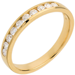 Wedding ring yellow gold semi-paved channel setting - 0.3 carat - 10 diamonds