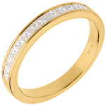 Wedding ring yellow gold semi-paved channel setting - 0.5 carat - 13 diamonds