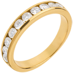 Wedding ring yellow gold semi paved-channel setting - 0.65 carat - 10 diamonds