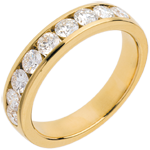 on-line buy Wedding ring yellow gold semi paved-channel setting - 1 carat - 9 diamonds