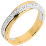 buy on line Wedding ring yellow gold-white gold semi-paved - 17 diamonds